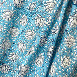 Lotus Flowers on Sky Blue Hand Block Print Cotton By the Yard # 022