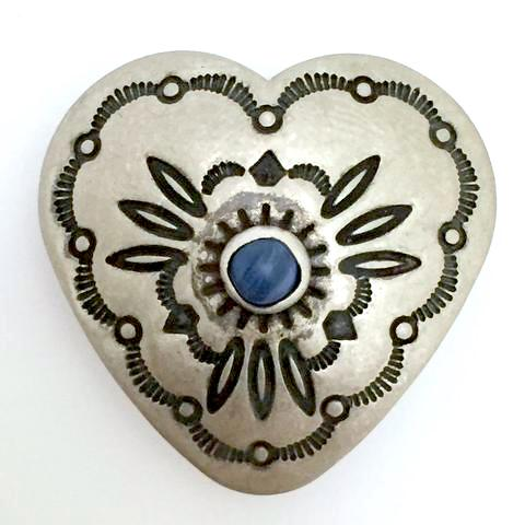 "Large Southwest Heart Button w. Blue ""Lapis Stone"" 1-1/4""  #SW-40"