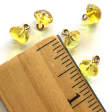 "Bright Yellow Vintage Glass Clear Faceted Buttons 1/4""  #GL361"