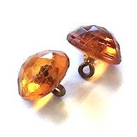 "Large Amber Vintage Faceted Glass Buttons, Clear 1/2"" # GL366"