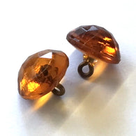 "Extra Large Amber Vintage Glass Buttons, 9/16"" #GL 379"