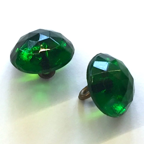 emerald green glass buttons