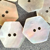 "Hexagon Mother of Pearl Shell Button, 7/8"", Pack of 6  #23109"