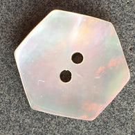 "Pearly Taupe Hexagon Mother of Pearl Shell Button, 7/8"", Pack of 6  #23109"