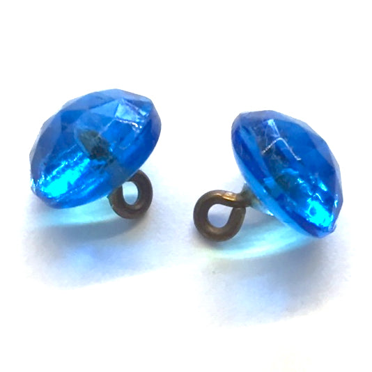 "Tahoe Blue Vintage Faceted Glass Buttons, Clear 3/8"" # GL368"