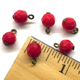 "Red Round Faceted Vintage Small Glass Buttons, 1/4"" # GL370"