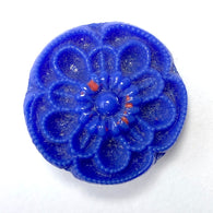 "3/4"" Solid Blue Vintage Czech Flower Button #OT-112"