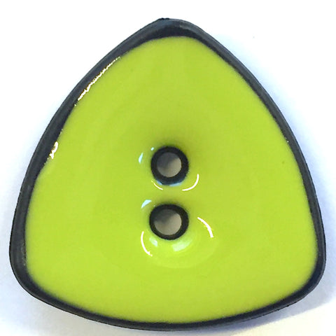 "Lime Bright Triangle w. Black Edges 7/8"" Button"