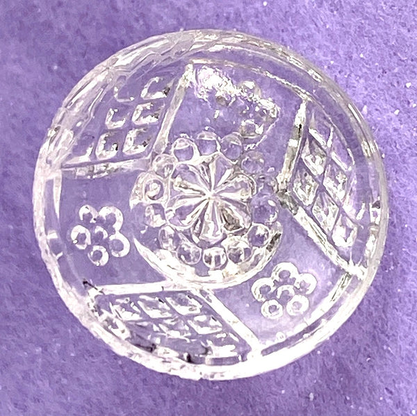 "Clear Vintage Fancy Etched Glass Button 9/16""  Pack of NINE,  #OT-127"