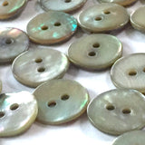 "Tiny Graphite Shell Buttons, 7/16"", Pack of 8  $7.20"