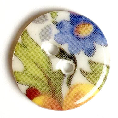 Cottage Garden Mixed Floral Button, Handmade Porcelain 5/8""