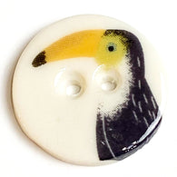 Toucan Bird Button, Handmade Porcelain 5/8""