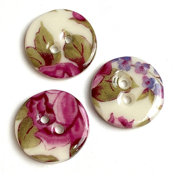 Rose Chintz Floral Button, Handmade Porcelain 5/8""