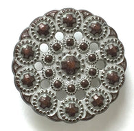 "Copper/White Bead-Look 1"" Metal Button  #SWC-47"