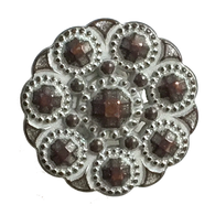 "Copper & White Bead-Look 3/4"" Button  #SWC-60"
