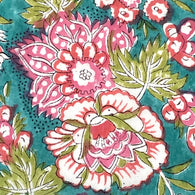 Teal + Pink Mul Mul Voile Hand Block Print Cotton by the Yard #827
