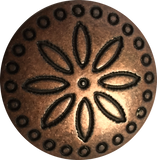 "Circles Around Flower Copper Concho Button, 11/16""   # SWC-10"