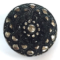 "Sparkly Black Mandala Czech Glass 18mm / 3/4""  # CZ 221"