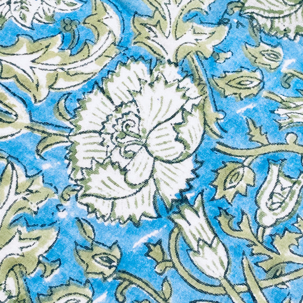 Blue & Green Mul Mul Voile Hand Block Print Cotton by the Yard #775