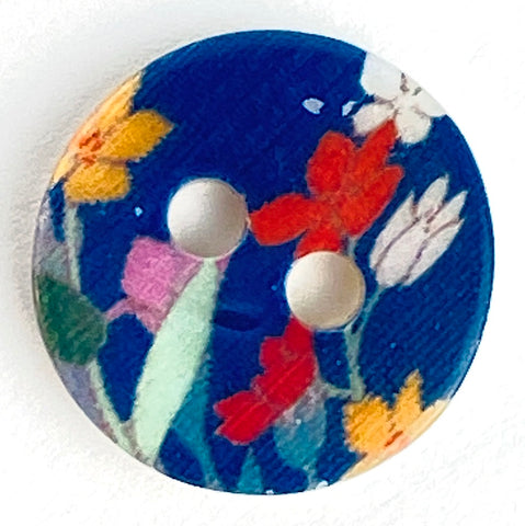 "Navy Shell, Tiny Flowers 7/16"" Shell, Blue, Five Buttons for $4.25"