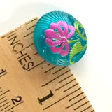 "Bright Blue + Pink Pincushion Flower Czech Glass 18mm / 3/4""  # CZ 061"