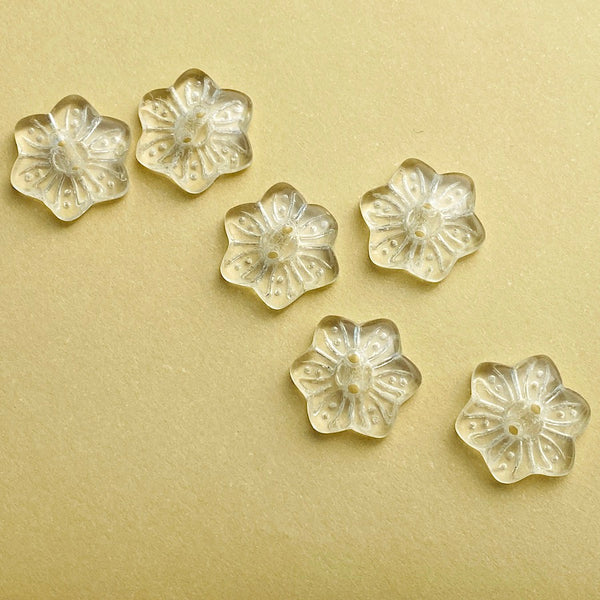 "Vintage Glass Clear Snowflake Flower 3/4""  #OT-125"