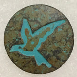 "Bird Button, Copper and Patina 15/16"" Shank Back"