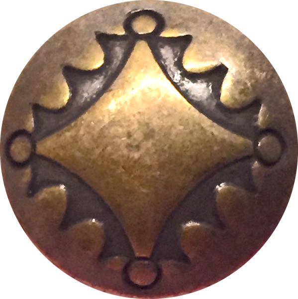 "Southwest Concho Button, Four Directions, Rustic Antique Brass 3/4"" # SW-13"