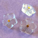 "Clear Vintage Glass Forget Me Not Flower Button 1/2"" # GL 329 SALE"