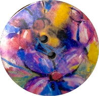 Purples, Pinks, Gold Abstract Tropical Coconut Paper Art Button 1""