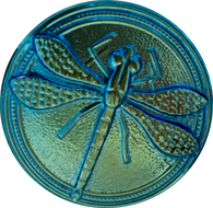 "Blue+Golden Olive Glow Dragonfly Czech Glass Button, 22mm  7/8"" # CZ 004"