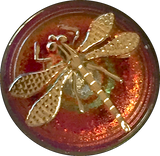 "Orange/Magenta Dragonfly Czech Glass Button, 22mm  7/8"" # CZ 155-B SALE"
