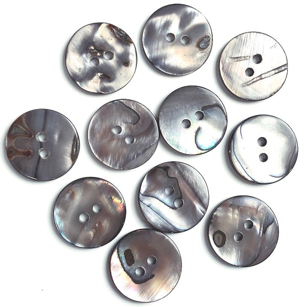 "Selkie Moonshine Abalone 2-Hole 3/4"" 18mm Button, Pack of 11"