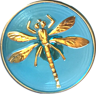 "Clear Sky Blue Dragonfly Czech Glass 18mm / 3/4""  # CZ 023"