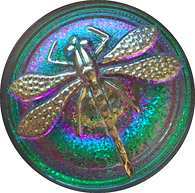 "Dragonfly Czech Glass Button, Green w. Purple & Silver 22mm / 7/8"" # CZ 103"