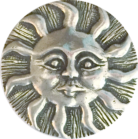 "Sun with Face Button 15/16"" Pewter, Made in USA"