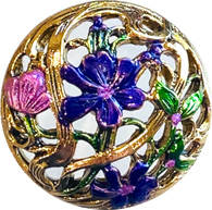 "Purple Flowers, Gold Openwork Button 15/16"" Artisan Metal"