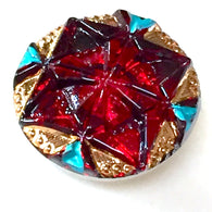 "Ruby Red + Turquoise Gem Czech Glass 18mm / 3/4""  # CZ 223-1"