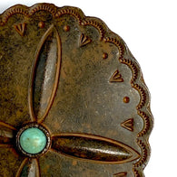 "Very Large Rustic Southwest Screw-Back Scalloped Oval/Turquoise, 2.5"" x 2.75""  #SV-712"