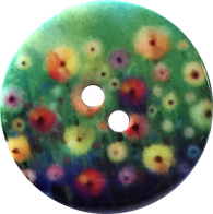 "Green + Purple + Flowers 7/8"" Designer Resin Button"