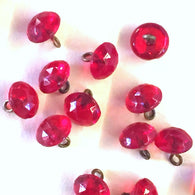 "Ruby Red Tiny Clear Vintage Faceted Glass Buttons, 1/4"" # GL374"