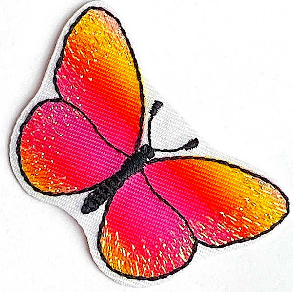 "Butterfly Pink Ombre Glitterwing 1-7/8"" Iron-On Patch/Applique"