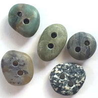 Beach Stone Buttons, 5 Small Mixed Colors # BCH-65