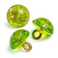 "SALE Apple Green Tiny Clear Vintage Buttons, Faceted Glass 1/4"" # GL317"