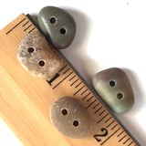Beach Stone Buttons, 4 Small Warm Colors    # BCH-67