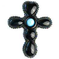"Large Beaded Vintage Black Cross with 'Turquoise', 4.5"" x 3.5""  #SV38"