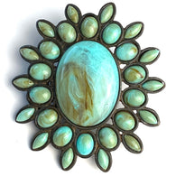 "Large Turquoise Oval Embellishment, Screw Back Southwest Concho 3.25""  #SV142"