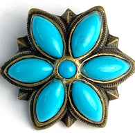 "Bright Blue 1.5"" Flower Screw Back Southwest Concho #SV120"