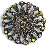 "Seventeen Gems 3"" Deco Gunmetal Screw-Back Concho   #SV132"