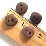 Beach Stone buttons, 4 Small Reddish Brown  # BCH-78